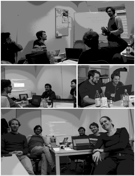 Showing group members discussing at the Hack.